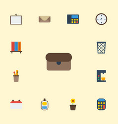 flat icons letter pen holder watch and other vector image