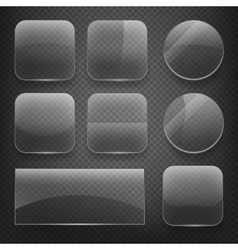 Glass square rectangular and round buttons on vector image vector image