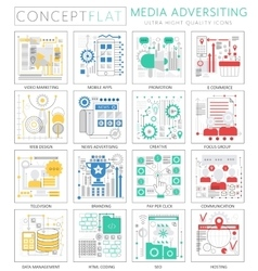 Infographics mini concept Media advertising icons vector image vector image