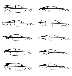 set of black silhouettes concept cars on white vector image
