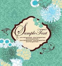 Vintage blue floral invitation card vector image