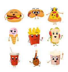 funny fast food characters vector image