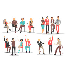 people at business training raise qualification vector image vector image