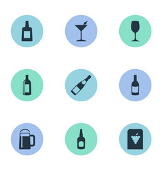 set of simple drinks icons vector image vector image