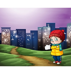 A young child across the tall buildings in the vector image