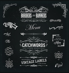 calligraphic frames and banners on chalkboard vector image