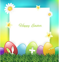 Easter greeting card with colorful eggs on grass vector image vector image