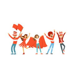 group of sport fans in red outfit with flags vector image
