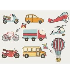 hand-drawn transportation icon set vector image
