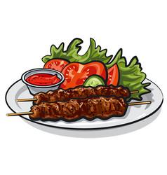 hot grilled kebab vector image