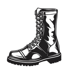 monochrome of military boot vector image