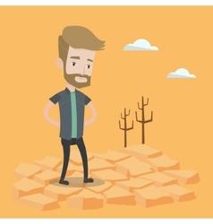 Sad man in the desert vector image