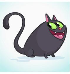 a cute smiling black cat cartoon vector image