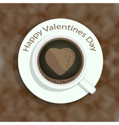 Cup of coffee with heart shape image on colorful vector image vector image