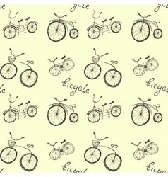 Cute doodle bicycles on white background vector image