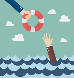 Drowning businessman getting lifebuoy from other vector image