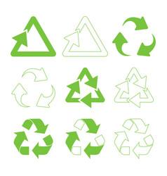 Green triangular recycle vector