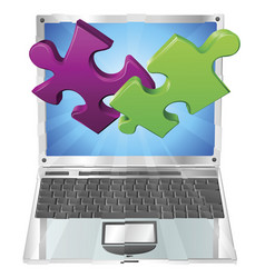 jigsaw puzzle pieces flying out of laptop computer vector image vector image
