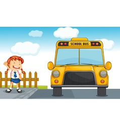 school bus and girl vector image vector image
