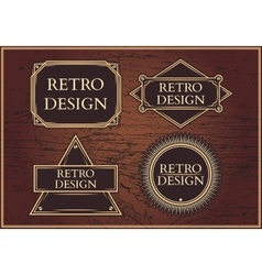 Set hipster emblems on a brown background vector image