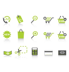 shopping icon green series vector image