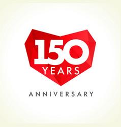 150 anniversary heart logo vector