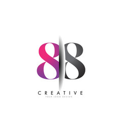 88 8 grey and pink number logo with creative vector