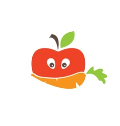 Abstract funny face of apple and carrot vector