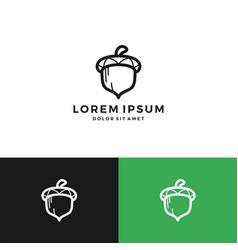 Acorn oak nut logo download line art outline vector