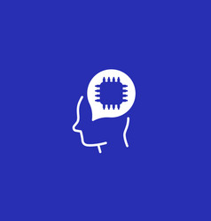 ai technology icon with chip and head vector image