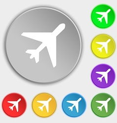 airplane icon sign Symbol on five flat buttons vector image