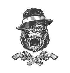 Angry gorilla head in fedora hat vector
