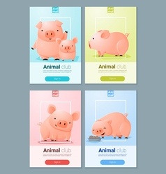 Animal banner with Pigs for web design 4 vector image