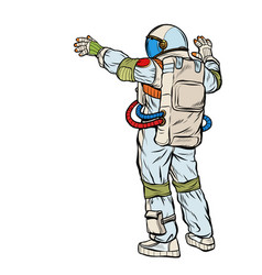 astronaut opened his hands vector image
