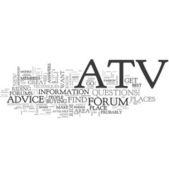 Atv forums text background word cloud concept vector