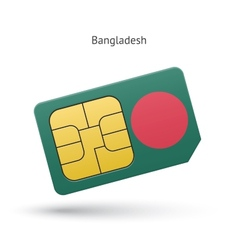 Bangladesh mobile phone sim card with flag vector