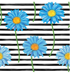 beautiful seamless pattern with blue gerbera vector image