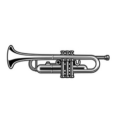 black and white of trumpet vector image