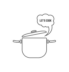 Black linear pan with steam icon on white vector
