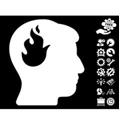 Brain Fire Icon with Tools Bonus vector