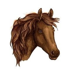 Brown graceful sad horse portrait vector image vector image