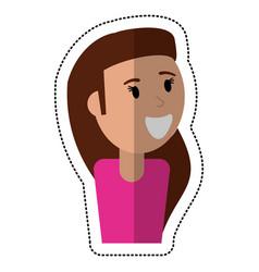 cartoon girl smile celebration vector image