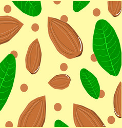 cartoon natural food seamless pattern with almond vector image