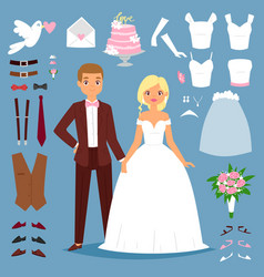 Cartoon wedding bride and groom couple vector