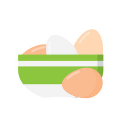 Chicken eggs in white plate vector