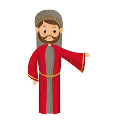 Cute cartoon joseph father manger image vector