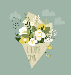 cute cartoon spring bouquet flowers hello vector image