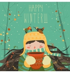 Cute winter cartoon girl with coffee vector image