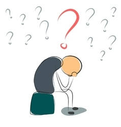 Depressed man with many questions vector