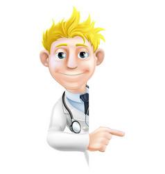 doctor pointing at sign vector image
